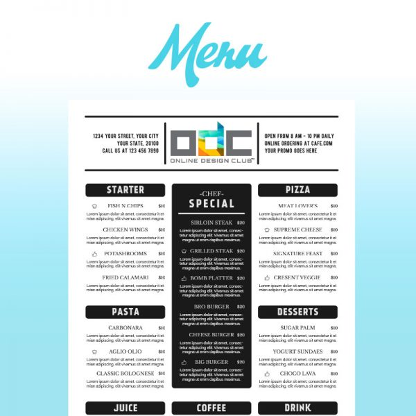 Restaurant Menu Graphic Design Company